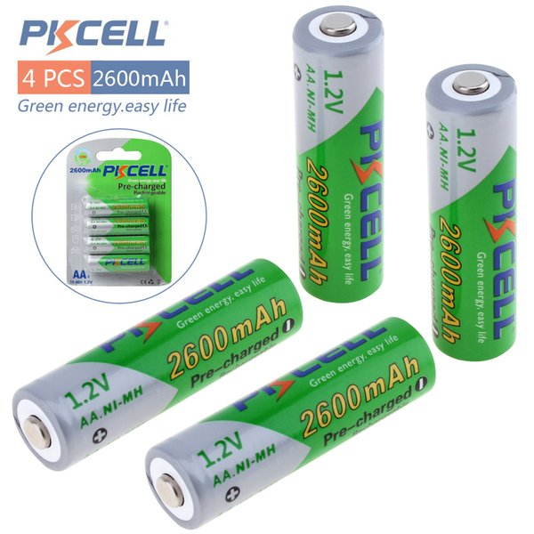 4pcs Pkcell 1.2V AA Ni-Mh 2600mAh LSD Rechargeable Batteries High Capacity Pre-charged Batteries Set With 1200 Cycle BLL_90V