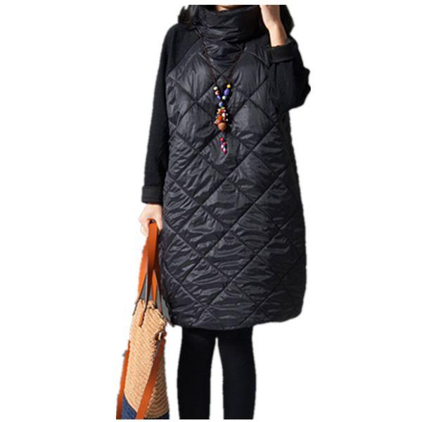 Wholesale- 2016 Fashion Autumn Loose Straight Dress Patchwork Black Ropa Mujer Turtleneck Down Female Vestidos Tunic Winter Dresses