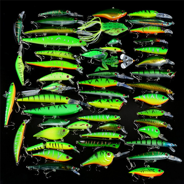 50pc Green Painted Artificial bait set High Quanlity ABS Plastic Mix Minnow VIB Popper Rattlin Crank Pencil Ray frog Lures kit