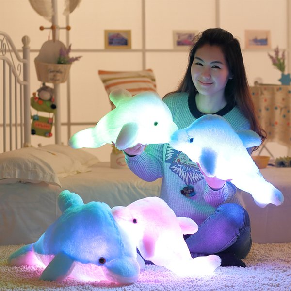 best selling Wholesale- 45cm Luminous Flashing Colorful Dolphin Pillow With LED Light Soft Toy Cushion Plush Stuffed Doll For Party Birthday Gift
