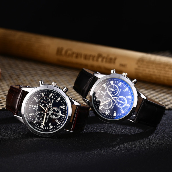 top popular Unisex Business Mens Watches Blue-ray Glass Leather Geneva Men Quartz Watch Fashion Dress Gift Wrist watches For Women 100pcs lot 2019