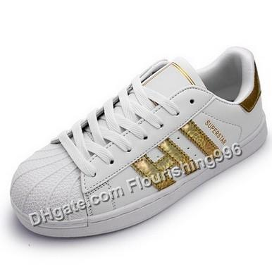 Lowest Price ! Men & Women Shoes Flat Bottom Plate White Loop Gold Color Direct Business Superstar Shoe Casual Shoes Drop Shipping #068