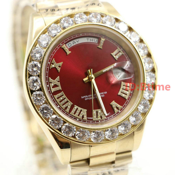 Luxury Brand Gold President Day-Date Diamantes Watch Hombres Stainless Mother of Pearl Dial Diamond Bisel Automatic WristWatch AAA mens Relojes