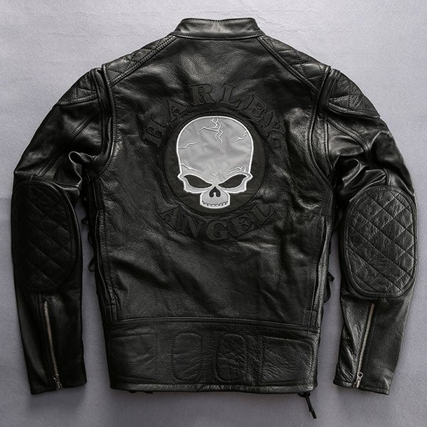 US classic motorcycle clothing Back Skull Man Slim genuine leather jacket Harley-Angel 100% First layer of leather