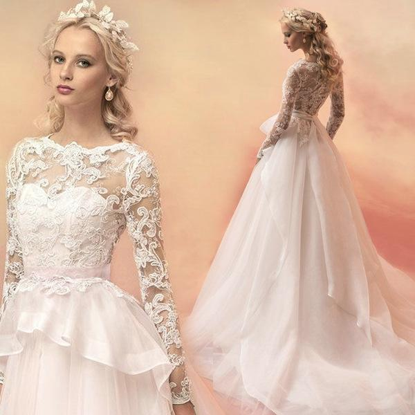 Großhandel White Luxury Lace Long Sleeve schlanke Prinzessin Braut ...
