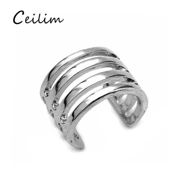 Zinc Alloy Punk Style Geometry Personalized Gold & Silver Punk Ring Hollow Opened Statement Vintage Finger Ring For Women 2017 Fashion