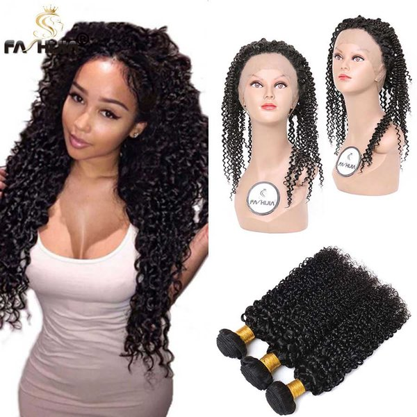 Customized 360 Lace Frontal Closure Kinky Curly With Bundles Raw Indian Virgin Hair 360 Full Lace Frontal With Natural Hairline