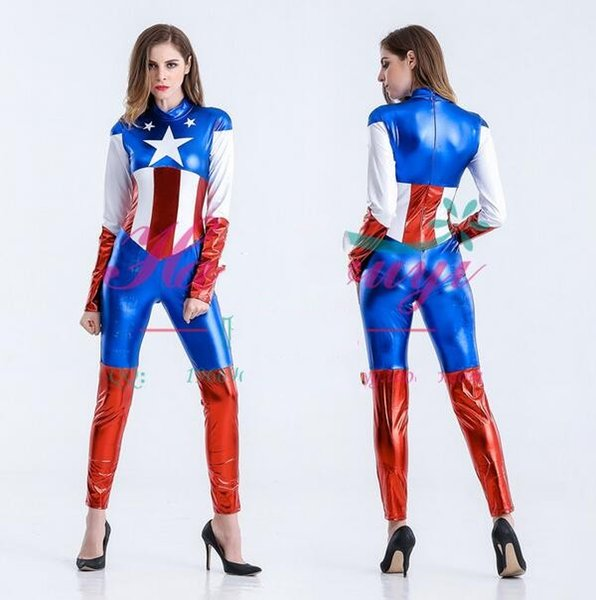 Captain America Costume Superhero Cosplay Women Skinny Suit Ladies Captain America Role Play Movie Halloween Party Costumes