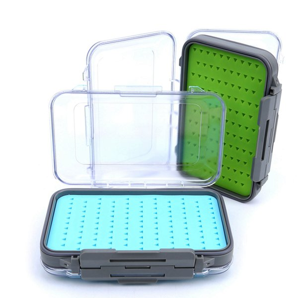 Clear Lid Visible Plastic Waterproof Silicone Insert Fly Lures Tackle Box 148x95x42mm Easy-grip Double Side Fly Fishing Box (No Flies) Blue