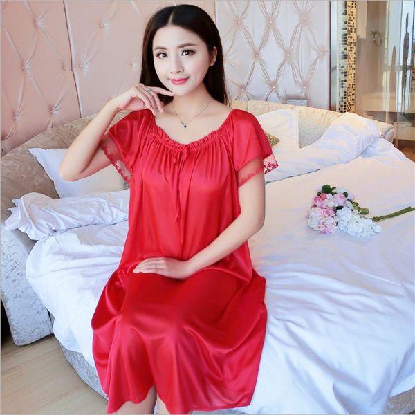 Wholesale- Latest Women fashion wearing loose Siamese Skirt sweet Girl Ice silk Nightdress Comfortable Indoor Clothing Home Suit Sleepwear