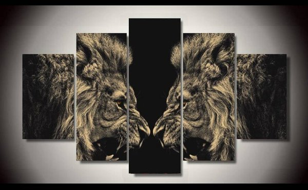 HD Print 5 Pcs canvas art lion painting modern home decor wall art picture living room decor print Painting on canvas no frame