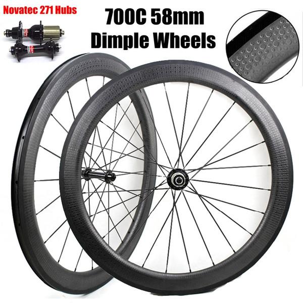 58mm Depth 25mm Width 700C Dimple Wheels Clincher Tubular Wheelset Full Carbon Wheels With Novatec 271/372 Hubs Black Spokes Nipples