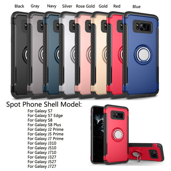 For Galaxy J2 Prime S7 S8 Case PC Soft TPU Shockproof Dual Layer Protection  Armor Case Fashion Metal Ring Mobile Phone Coque Spigen Cell Phone Cases