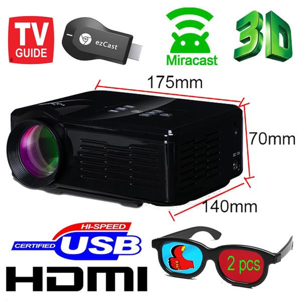 Toptan Satış - Toptan-Ücretsiz gönderim Yeni projektör keystone EZCast wifi ekran Ayna HD TV mini video lcd 1080p 3d Proyector Projetor açtı
