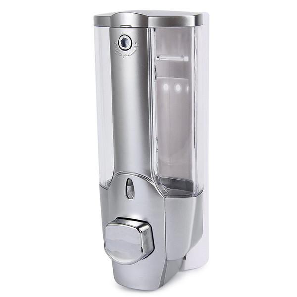 350ml Wall Mount Shower Kitchen Single Head Soap Dispenser with a Lock ABS Plastic Liquid Shampoo Vessel for Bathroom Washroom