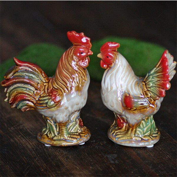 1pair Ceramic Home decoration small Chicken Rooster Furnishing ornament crafts decoration gift