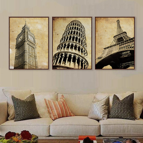 Triptych Vintage Retro Travel Pairs London City Eiffel Tower Art Print Poster Shabby Chic Wall Picture Canvas Painting Home Deco