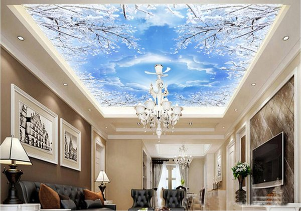 3d photo wallpaper custom mural Snowflake blue sky white clouds ceiling murals background home decoration living room wallpaper for walls 3d