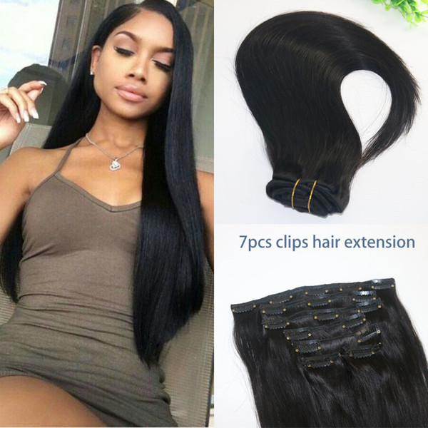 Capelli umani brasiliani diritti nell'estensione dei capelli 1B capelli umani umani di colore naturale afroamericano 7PCS 120gram