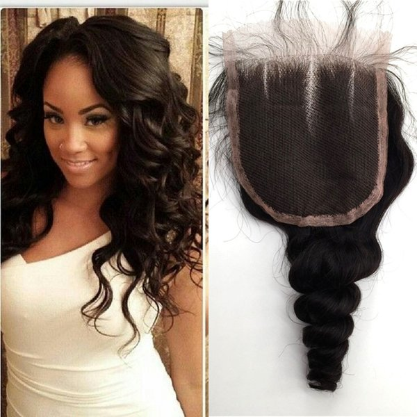 4x4 Lace Closure Brazilian Human Hair Free/Middle/Three Part Loose Wave Closure 100% Human Hair G-EASY
