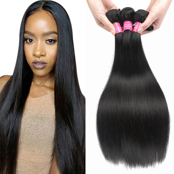 Brazilian Virgin Straight Hair Weave Bundles Cheap Remy Human Hair Extensions Natural Color 1B Peruvian Indian Malaysian Mongolian Hair