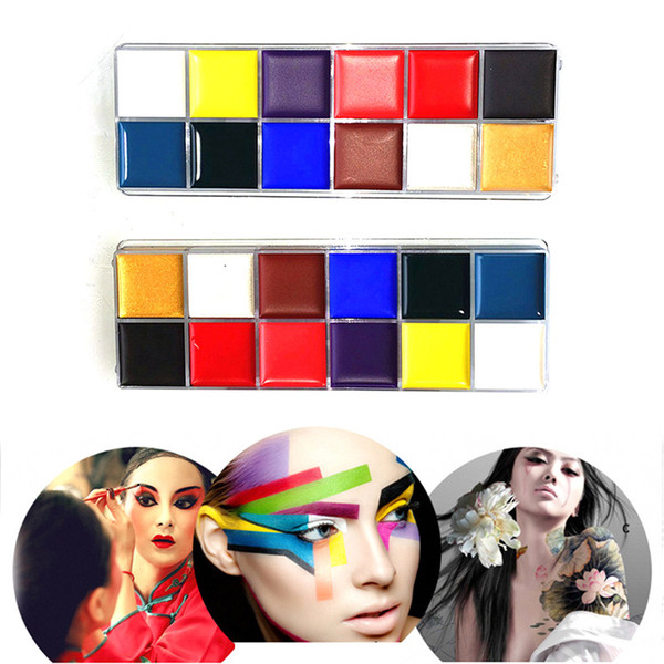 12 Colors Flash Tattoo Face Body Paint Oil Painting Art Halloween Makeup Temporary Tatoos Glowing Painting Make Up Tools 2802038