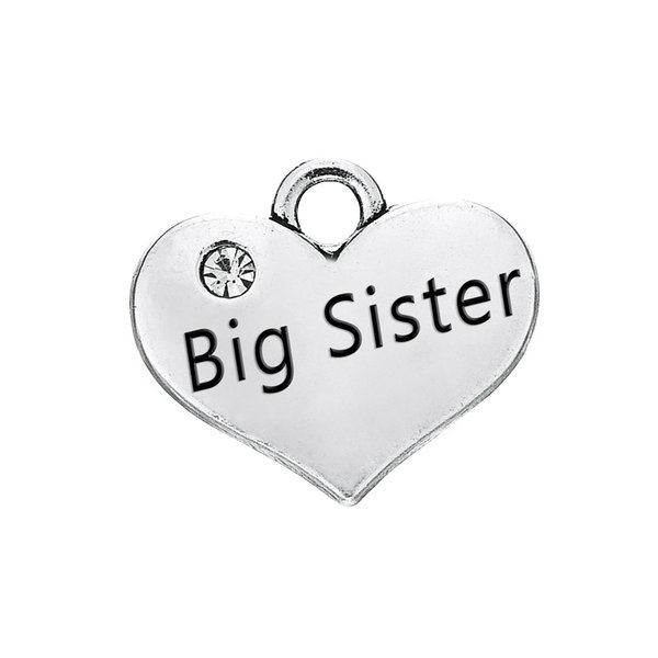Engraved Words Big Sister with Clear Crystal Heart Pendant With Antique Silver Plated Fashion Charm DIY Necklaces&Bracelets