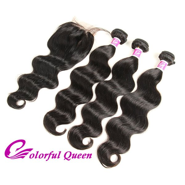 Brazilian Virgin Hair 3 Bundles Body Wave with Closure Wet and Wavy Human Hair Weaves with 4x4 Lace Closure Natural Black 4pcs/Lot