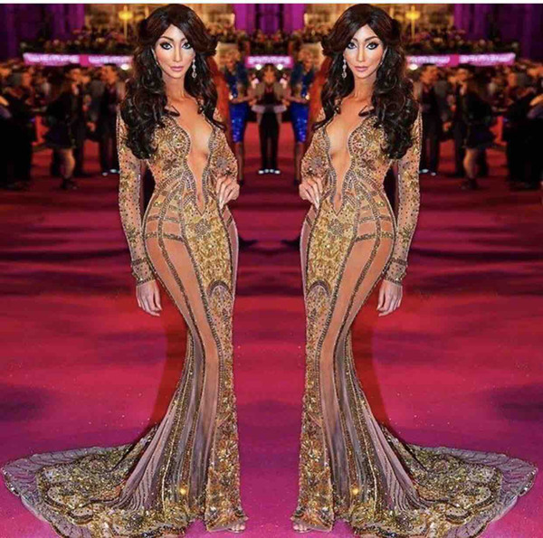 Yasmine Petty walk the red carpet Celebrity Dresses New Long Sleeve 2017 V Neck Formal Evening Dresses