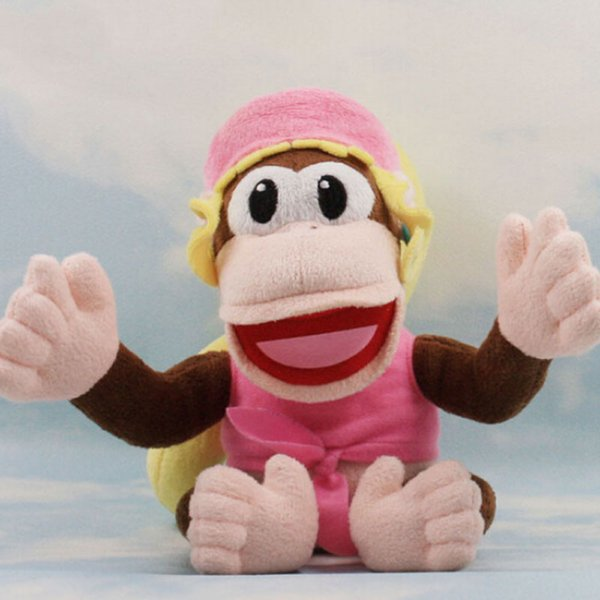 """New Super Mario Bros Dixie Kong Animal Stuffed Plush Doll Pink Female Monkey Baby Girl Gift Kids Toys Approx 7"""" Free Track"""