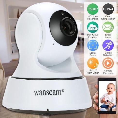 Wanscam HD 720P Wireless WiFi Pan Tilt Network Telecamera IP Cloud Rilevazione del movimento di notte a infrarossi per CCTV Telecamere di sicurezza di sorveglianza S1099
