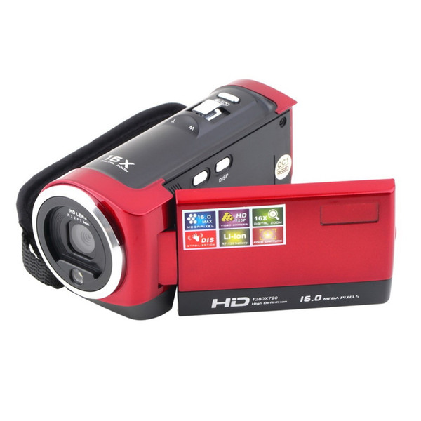 Wholesale-Digital Video Camcorder HD 720P 16MP 2.7 inch TFT LCD Screen 16x ZOOM CMOS Camera DV DVR Action Camcorder Red Black US UK Plug
