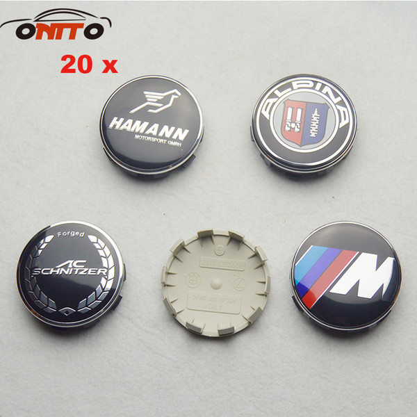 20Pcs 68mm Badge 10clips Gray Base Auto Wheel for Hamann AC Alpina M Sport Logo Cover Label ABS Aluminum Car Wheel Emblem Hub Caps
