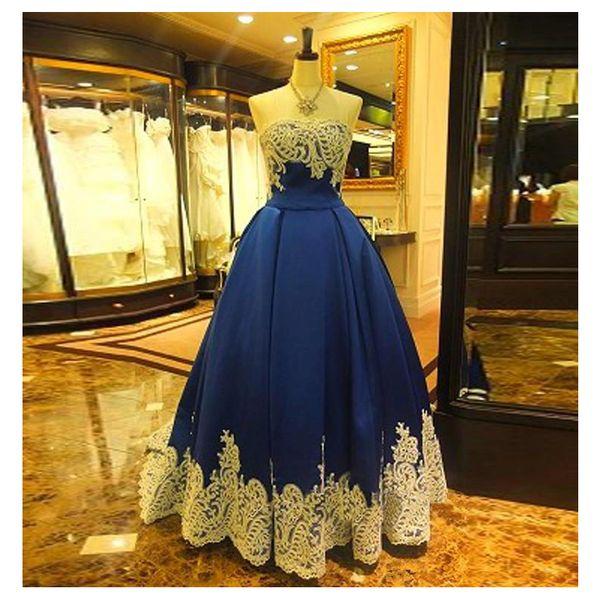 2019 Navy Blue Evening Dress Ball Gown White Lace Vestidos de Festa Satin Floor Length Evening Gowns Plus Size