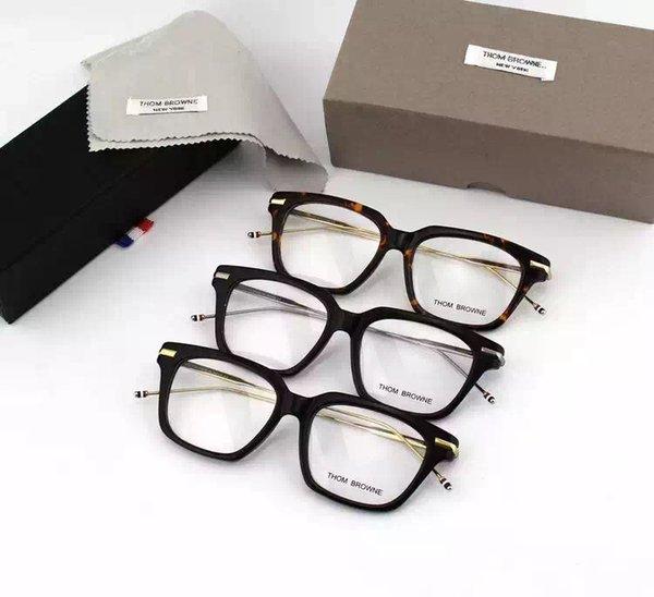 Al por mayor- NewYork Eyewear marca anteojos recetados Metal pierna Marcos Cuadrados gafas TB701 hombres gafas con caja original oculos de grau