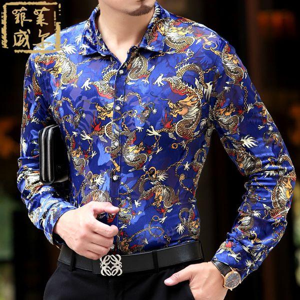 Wholesale- 2016 Mens Fancy shirts Flannel Shirt Mens Clothing Designer High Quality Camisa Luxury Homme Brand Mens Foral Shirts Velvet 5XL