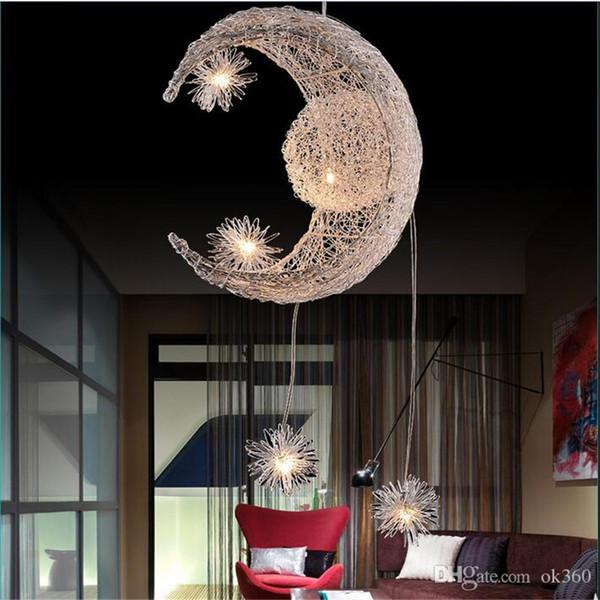 Moderno Personalizado Moon Star Araña Niños Dormitorio Lustres colgando con 5 Luces G4 lámpara de techo decorativa casera Iluminación del accesorio
