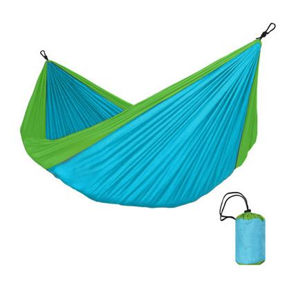 Double lightweight nylon hammock rope and carabiner included bed length and width 9 2 x 1 6ft 2 8 x 1 5m