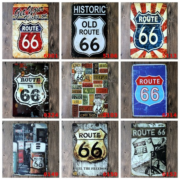 U.S. Historic Old Route 66 Poster Wall Decor Bar Home Vintage Craft Gift Art 12x8in Iron painting Tin Poster(Mixed Designs)
