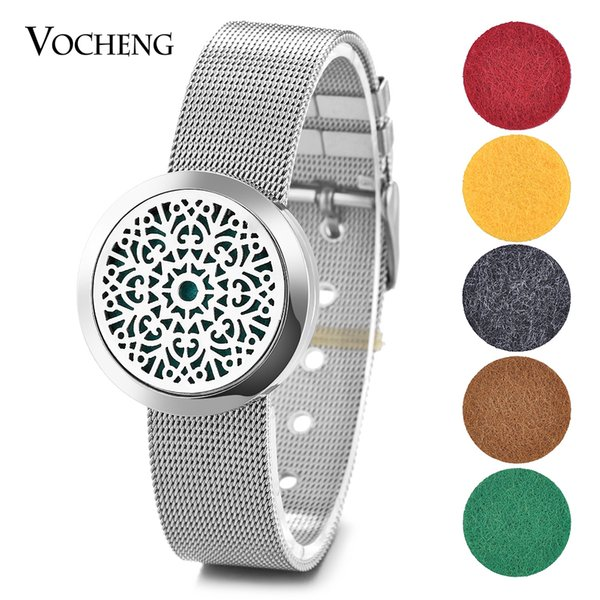 Aroma Diffuser Locket Bracelet Watch Band 316L Stainless Steel 30mm Magnetic Floral without Felt Pads VA-294