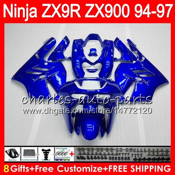 8Gifts 23Colors For KAWASAKI NINJA ZX900 ZX9R 94 95 96 97 900CC 49HM15 gloss blue ZX-9R ZX900C ZX 9 R ZX 9R 1994 1995 1996 1997 Fairing kit
