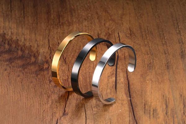 Kadın erkek Geniş Açık Bilezikler Altın Gümüş Siyah Kaplama Paslanmaz Çelik Manşet Bilezik Takı Pulseras 6mm B-106