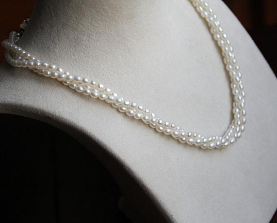 AAA 3-4mm White South Sea Natural Multiple Layers Rice Shape Pearl Necklace 17 Inch S925 Silver