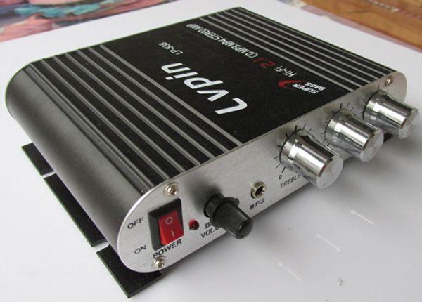 Mini amplifikatör Süper Bas Hi-Fi Stereo Ses Amp Booster Araba Moto Ev DC 12 V 3A Güç Kaynağı ile, siyah