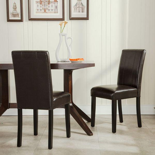 Compre Conjunto De 2 Elegantes Muebles De Diseño De Cuero Parsons Comedor  Sillas Asiento Marrón A $63.92 Del Dhmakepossible | DHgate.Com