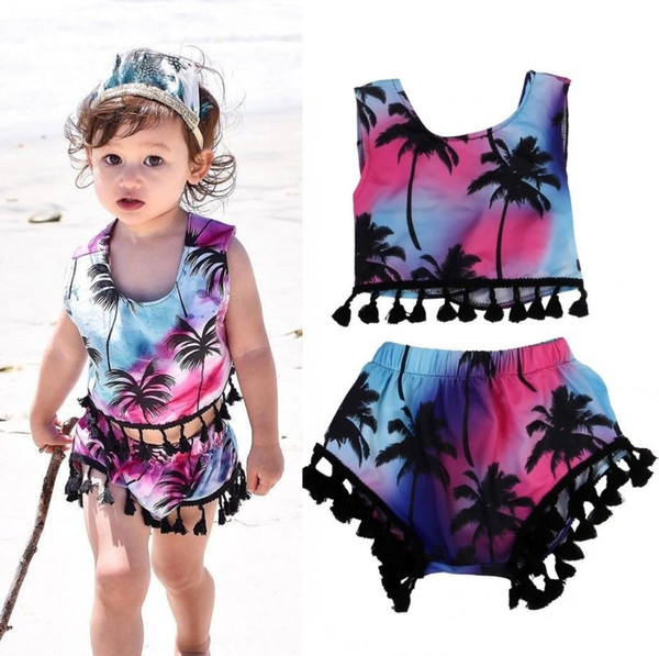 2Pcs Set Toddler Kids Baby Girls Clothes Floral Tassel Multicolor suits Summer Baby Girls Sleeveless Top + A Pair of Shorts Outfits 1-5T