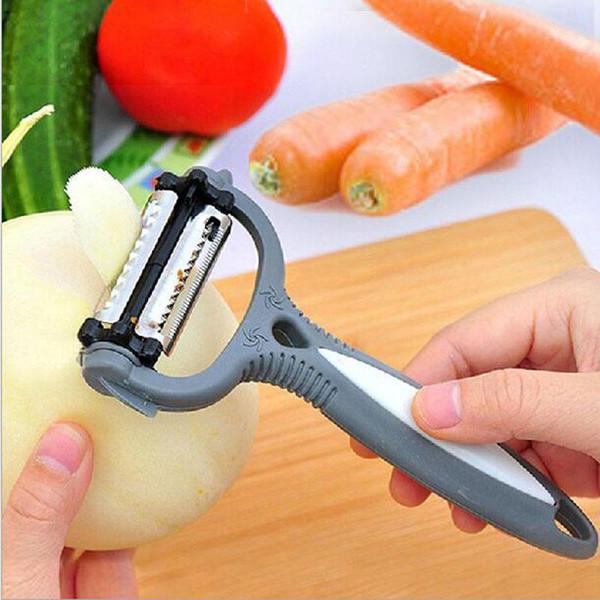 4 in 1 Multifunktions-Kartoffelschäler 360 Grad Rotations-Karotten-Melone Gemüse-Obst-Schneidemesser Zester Küchenzubehör Werkzeuge