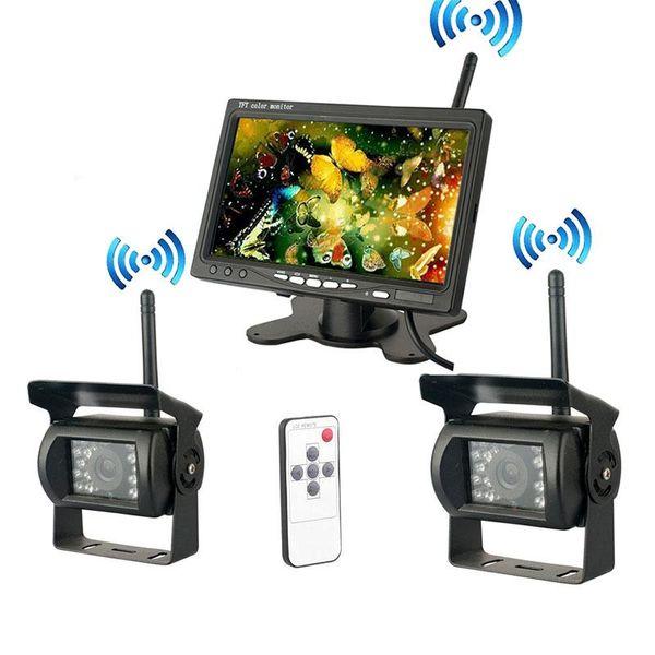 "Wholesale-2x Wireless mini HD camera IR Night Vision Truck Rear View vedio Camera System + 7"" LCD Monitor"