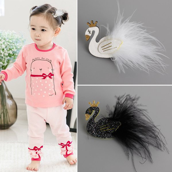 12Pcs Cute Cartoon Black And White Swan Baby Hairpins Kids Hair Clips Princess Barrettes Girls Hair Accessories Beautiful HuiLin B27