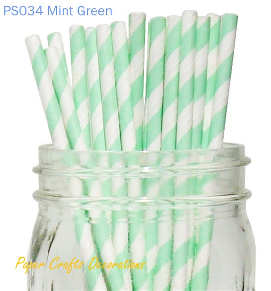 "Wholesale-Free Shipping 5Pack (pack of 25) 8"" Mint Green Striped Paper Party Straws Wedding Supplies 233 Designs Available"